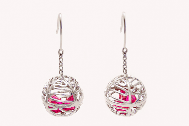 Treasury-love-ball_pink_silber_Ohrringe